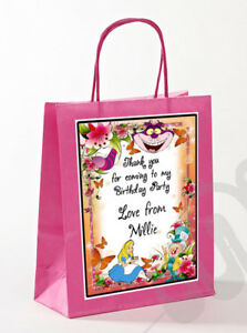 PERSONALISED MAD HATTER ALICE IN WONDERLAND BIRTHDAY PARTY PAPER COLOURED BAGS