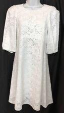 Chloe Dress White Eyelet To Elbow Sleeve Embroidered  NWT $1795 Size 36