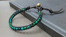Chrysocolla Black  Leather  Bracelet,Leather Bracelet,Beads Bracelet