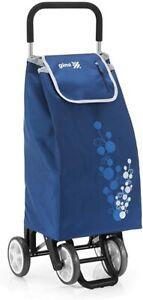 Gimi Twin blu Carrello Spesa Portaspesa 4 Ruote Versatile Telaio In Acciaio