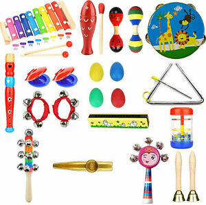 28PCs Wooden Kids Musical Instruments Set Toys Music Percussion Great Gifts Uk