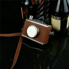 Wooden Leather Wrapped Alcohol Liquor Camera Shape Stainless Steel Flasks Hip