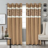 Grommet Fully Lined Eyelet Ring Top Curtains Faux Silk Window Treatment 2 Panel