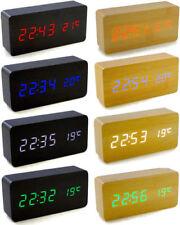 Voice Control Calendar Wooden LED Alarm Clock Colour Black Wood + White light