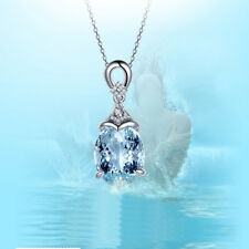 Fashion Vintage Silver Aquamarine Gemstone Pendant With Chain Necklace Jewelry