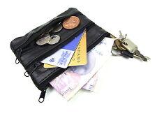 Donna Pochette in Pelle da Uomo Bambini tasca portamonete con cerniera 4 Pocket Wallet Key Holder Nero