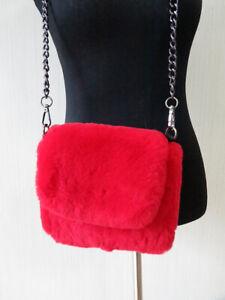 100% real rex rabbit fur shoulder bag/cell red bag/ art-craft bag women purse