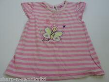 Bebé Niña Rosa Raya Mariposa Algodón Bordado Camiseta Camisa 12-18 meses