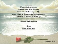 80th Birthday Gift, Or Any Age, Personalized Poem Gift Rose on the Beach Print
