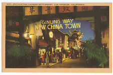 Ginling Way New China Town Los Angeles Linen Vintage Postcard
