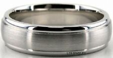 14K WHITE GOLD MENS WEDDING BANDS RINGS SATIN FINISH 6MM