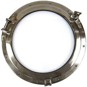 """20"""" Round Ships Porthole Glass Window Aluminum Chrome Finish Nautical Wall Décor"""