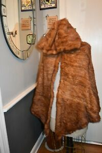 red brown knitted mink fur hooded cape cloak jacket coat OS