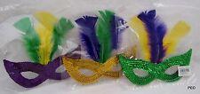 Mardi Gras Masquerade Masks 1 Dozen Gold Purple Green Party New Pack of 12