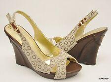 New Guess MELISA Signature Wedge Sandal Platform Heel Shoe Natural/Brown  9.5