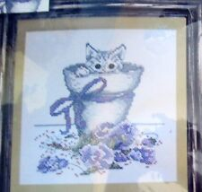 "1 Sweet ""Flowerpot Kitty"" Stamped Cross Stitch Kit"