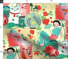 New listing Asian Vintage Kitsch Love Pink Flowers Retro Spoonflower Fabric by the Yard
