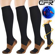Copper Compression Socks Pressure Varicose Leg Support Long Stockings Men Women
