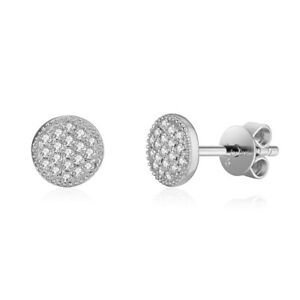 0.16CT 14K White Gold Real Cluster Diamond Small Stud Earrings Birthday Gift