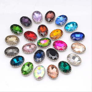 High-end Oval Color Glass Rhinestone Lace setting Sewing On Applique Button