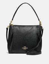 🌹NWT Coach 79994 Marlon Hobo Leather Crossbody Shoulder Handbag Black/Gold