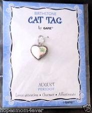 Nip Ganz Birthstone Cat Tag Charm Heart w/Paw Shape Stones August/Green Bogo 50%