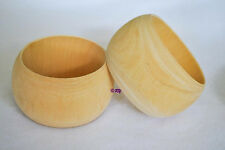 Lot of 8 WIDE Unfinished Wooden Wood Bangle Bracelets DIY Round