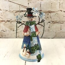 Christmas Snowman Figurine Tin Metal Snowflake Country Scene Winter Holiday Deco