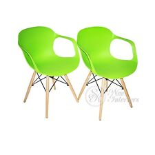 Green Plastic Molded Dining Armchairs Modern with Natural Wood Legs Set of 2