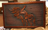 Vintage Moose Wood Carving Wall Art Cabin Rustic Decor Plaque Woodcarving Big!