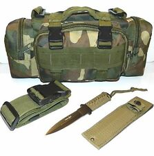 Molle Camo Survival Camping Hunting Pouch & Full Tang Double Edge Blade Knife