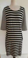 SUSSAN Black/White Stripe Stretch Knit Dress Size M