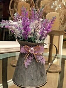 Hand Embellished Small Rustic Galvanized Metal Watering Can Home Décor. Adorable