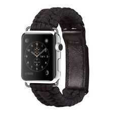 For Apple Watch Band 42mm Paracord Strap Leather Adjustable Clasp Velcro Buckle