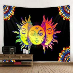 HIPPIE PSYCHEDELIC FACE PRINTING TAPESTRY BOHEMIAN SUN MOON WALL HANGING