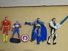 Lotto 4 action figures FLASH CAPITAN AMERICA BATMAN Marvel DC Comics Mattel di