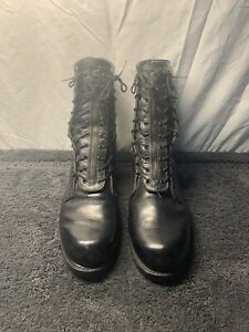 Men's Addison Shoe Company Black Leather Combat Boots 11 E Motorcycle Military