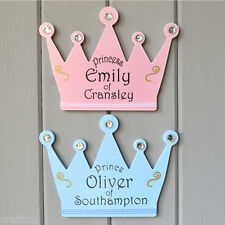 Crown shaped Prince or Princes door wall plaque pink or blue.