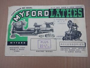 MYFORD CATALOGUE FOR OLD TYPE ML SERIES 1940s
