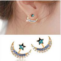 Womans Charm Golden Blue Moon Star Shape Crystal Rhinestone Stud Earrings 1 pair
