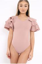 Womens Ladies Short Sleeve Ruffle Frill Arm Leotard Bodysuit Dress Top Shirt Pink 8