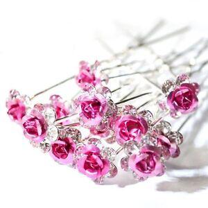 10 Rose Pink Rhinestone Flower Wedding Bridal Hair Pins Accessories Party - Prom