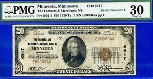 TOP POP 2/0 - 1929 $20 National (( Finest Known Minneotta # 4 )) PMG 30 CH# 6917