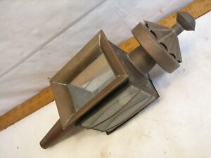 Antique Copper Beveled Glass Driving Coach Lantern Buggy Lamp Carriage Light