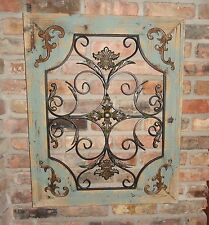 Rustic Wood Frame Window Metal Wall Decor Cottage Chic Shabby Home Decor French