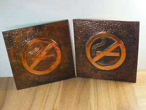 Copper Hammered Wall Art - No Smoking Signs x 2