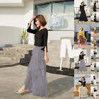Fashion Women's Layer Chiffon Pleated Retro Long Maxi Dress Elastic Waist Skirt