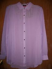 NWT ROAR PURPLE BUTTON FRONT EMBROIDERED LONG SLEEVE TOP SZ MEDIUM $90.00
