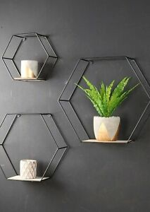 Hexagon Wall Shelves - Set of Three - Metal and Wood Wire Frame