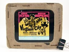 "Vintage 1940 Film ""Virginia City"" Magic Lantern Glass Theater Slide Flynn Bogart"